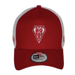 Casquette baseball Trucker New ERA ROUGE Filet  BLANC Logo BO